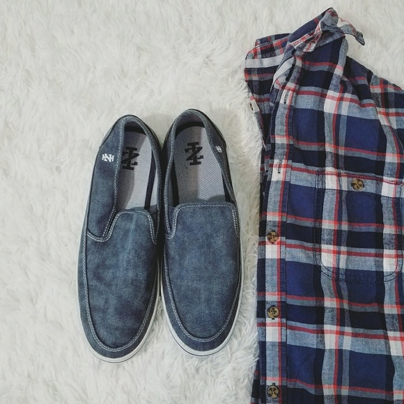 Izod Distressed Denim Blue Loafers